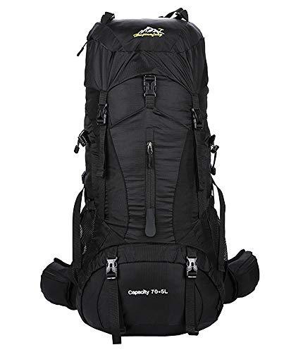 Imperméable Grande Contenance Sac à Dos - Backpack avec Housse de Pluie Sport Randonnée Trekking Alpinisme Escalade Camping Voyage, Noir, 80L