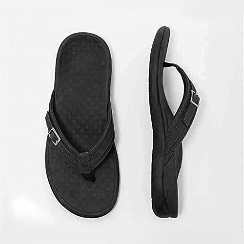Mxfjolly Zapatillas de Playa de Gran tamaño de Verano para Hombres y Mujeres, Personas Planas e Informales en Las Sandalias-Black_41