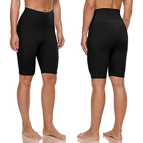 62 mallas de cintura alta para mujer, color sólido, pantalones cortos de yoga para correr al aire libre, atlético, yoga, deporte, hasta la rodilla, pantalones cortos