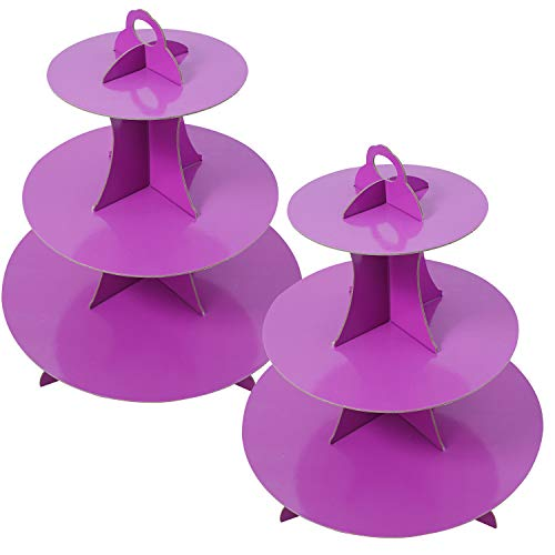 2 Set Purple 3-Tier Round Cardboard Cupcake Stand for 24 Cupcakes Perfect for Purple Baby Bridal Shower Birthday Party Supplies (Purple)