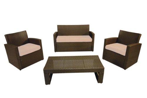 Hansen Outdoor 10/131 Outdoor-Sitzgruppe Tisch mit Glasplatte-Sicherheitsglas, 2-er Bank B 124, T 60, H 85 cm, Sessel B 63 T 60 H 85 cm, Tisch B 90 T 52, H 44 cm