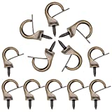 12PCS Windproof Metal Hooks Screw Loop Dropped Suspended Ceiling Hook Safety Cup Heavy Duty Clips for Outdoor Hanger 1.9 x 1.4 inch Size (Bronze)