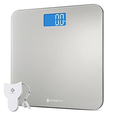 Etekcity High Precision Digital Bathroom Scale, Body Weight Scales with Body Tape Measure and Round Corner Design, Large Blue LCD Backlight Display, 400 pounds