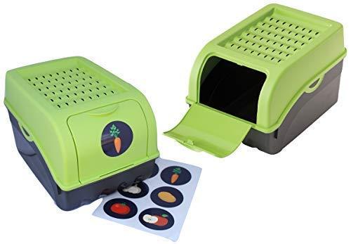 Rival 2 x Vorratsdose für Kartoffeln, Gemüse, Obst, Zwiebeln, Aufbewahrungsbox, Kunststoff, Volumen von 7,7 Liter (Set 2 Boxen) (Grün)