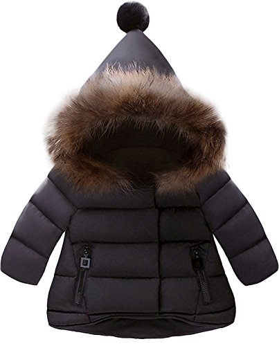 Jojobaby Baby Boys Girls Hooded Snowsuit Winter Warm Fur Collar Hooded Down Windproof Jacket Outerwear (6-12 Months, Black)