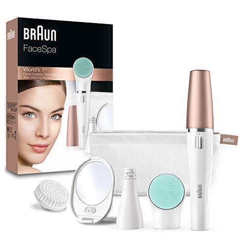 Braun FaceSpa 851 - Sistema 3 en 1 de depiladora facial, cepillo limpiador extrasuave y masaje, color blanco