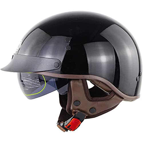 Casco de Motocicleta Casco de Moto Medio Abierto para Hombre Mujere Adultos,Casco Moto Jet Vintage Casco Ligero y Cómodo Ciclomotor Casco,DOT/ECE Homologado C,M=55~56CM