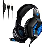 Gaming Headsets, elegiant Over-Ear-Computer Gaming Kopfhörer mit Mikrofon, Bass Stereo Surround Sound Lautstärkeregler, kompatibel mit PS4 Pro/PS4 Xbox One Nintendo Schalter PC Handy Laptop Mac