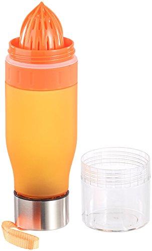 Rosenstein & Söhne Fruchtbehälter: Trinkflasche, Zitruspresse & Kräuterwasser-Bereiter, BPA-frei, orange (Trinkflasche mit Zitronenpresse)