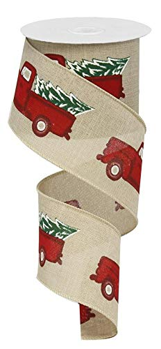 A & B Floral 2.5' x10yd Wired Vintage Truck Ribbon, Red