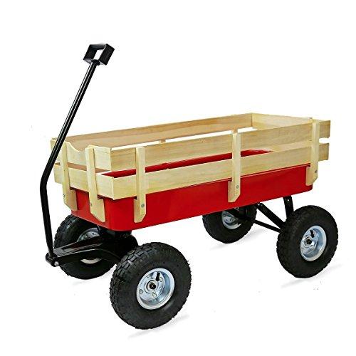 unknown folding wagons All-Terrain Cart Cargo Wagon Red Wood Railing Children Garden Outdoor Big Foot