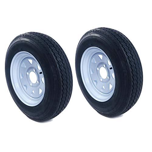 "Motorhot 2 New Trailer Tires & Rims 4.80-12 480-12 4.80 X 12 12"" 4 Lug Wheel White Spoke -P811"