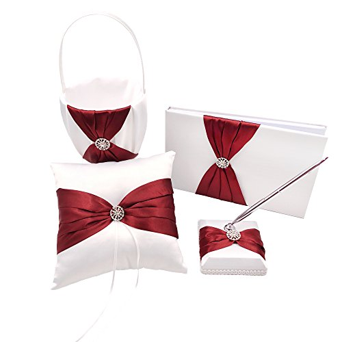 Abbie Home 4 in All Wedding Guest Book + Pen Set + Flower Basket + Ring Pillow Rhinestone Party Favor (Burgundy)