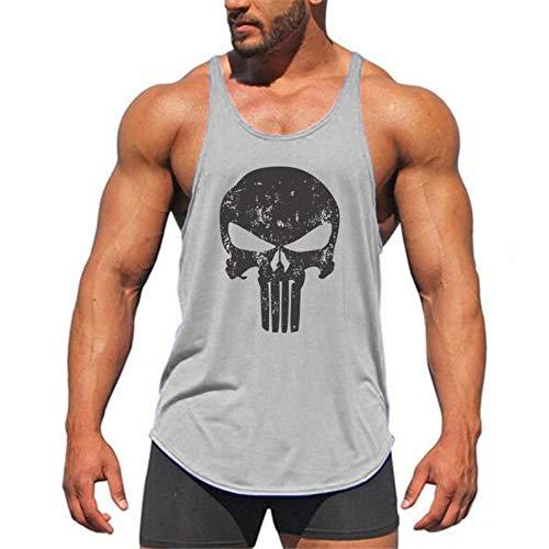 Fitnessvest heren sport fitness vest toptraining lopen mouwloos T-shirt, grijze dunne schouderriem taro druk slim fit vest lichaam spieren zomer sneldrogend ademend katoen W