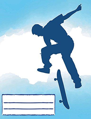 Flip Trick Skateboarding Composition Notebook Blue: Skateboard Design College Ruled Lined Pages Book for fans stoked on Skating