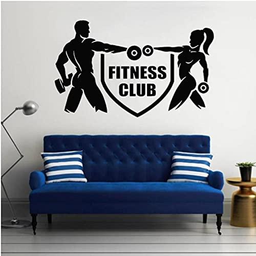 Fitness Club pared calcomanía deporte gimnasio vinilo pegatina culturismo atletas decoración Interior sala de estar decoración gimnasio arte Mural 42x68cm