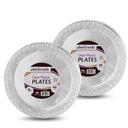 [120 Count] Plastimade 9 Inch Dinner Plates Clear Disposable Heavy Duty Plastic, Ideal For Wedding, Catering, Parties, Buffets, Events, Or Everyday Use, 3 Packs