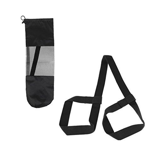 F Fityle Eslinga de Yoga Ajustable Portador de Hombro Correa de Transporte Cinturón + Bolsa de Esterilla de Malla