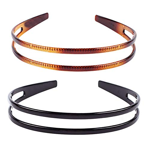 2Pcs Simple and Fashion Double-layer Plastic Headbands Fine Tooth Hairband Hair Hoop Hair Acessories for Women's Lady Girls (Black +Brown)