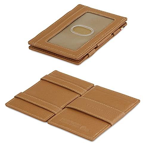 Garzini Magic Wallet, RFID Geldbeutel für Herren aus echtem Leder mit Platz für 8 Karten, Mini Geldbörse als Geschenk für Männer, Cognac Brown