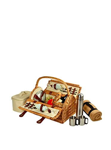 Picknick bei Ascot Sussex Picknickkorb für zwei Personen, mit Decke und Kaffee-Set, Weiden/Pavillon