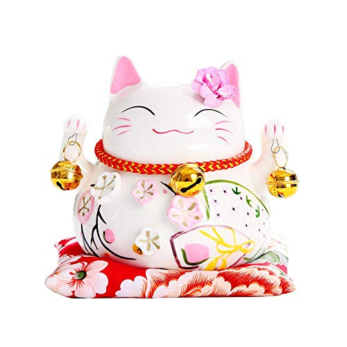 Ziv White Ceramic Maneki Neko Lucky Cat Coin Bank Style Head Flower,Ornately Decorated Porcelain (No Abacus, 4.5')