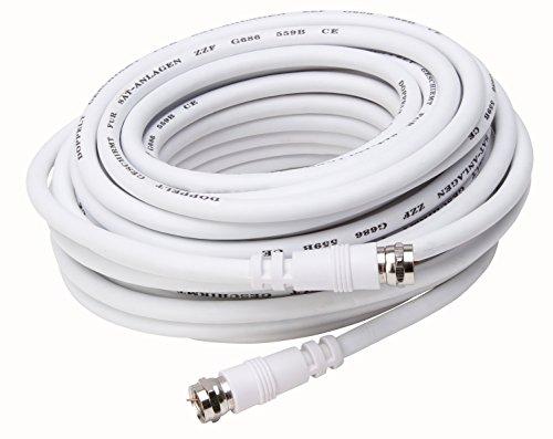 Kopp 33369769 Anschlusskabel Antennen-Verlängerung SAT / 2 F-Stecker 10m, Weiß