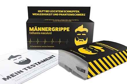 Unbekannt Liebeskummerpillen - 99006 - Männergrippe, 10 Taschentücher und ein Testament, Maße: Länge 12,1 cm, Breite 8,1 cm, Höhe 2,5 cm
