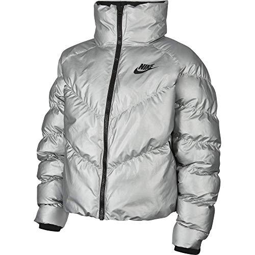 Nike W NSW Syn Fill Jkt Stmt Shine Jacke, Damen, Metallic Silver/Black, L L silber/schwarz (Metallic Silver/Black)