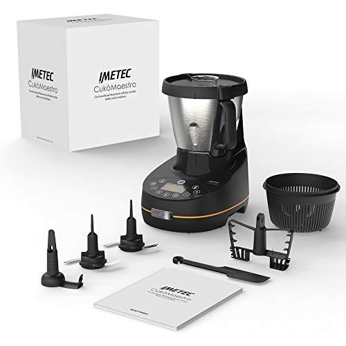 Imetec Cukò Maestro Robot de cuisine avec cuisson, 20 programmes automatiques, 10 fonctions, jusqu'à 6 portions, pâte à pain et pizza, capacité 2 L, 8 accessoires, livre de recettes 1000 W, noir
