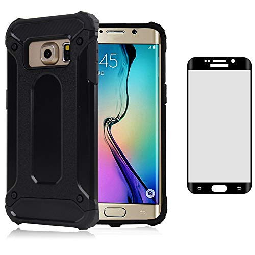 Phone Case for Samsung Galaxy S6 Edge Plus with Tempered Glass Screen Protector Cover and Cell Accessories Slim Silicone Dual Layer Armor Glaxay S6edge + S 6edge 6s 6 Edge+ Women Men Cases Black