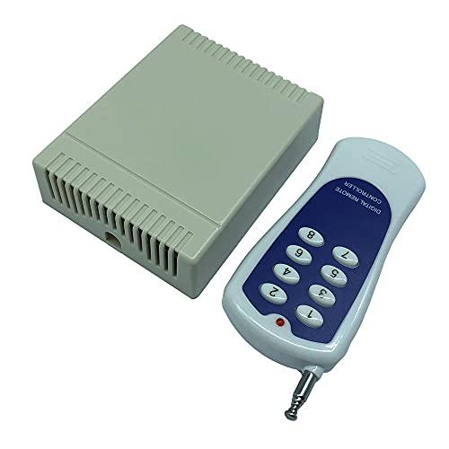 Milkvetch Interruptor de Control Remoto InaláMbrico de 12 V 8 Canales 433 MHz 100 M Control Remoto de 8 Teclas para LáMparas, Control de Acceso, Motores, Puertas
