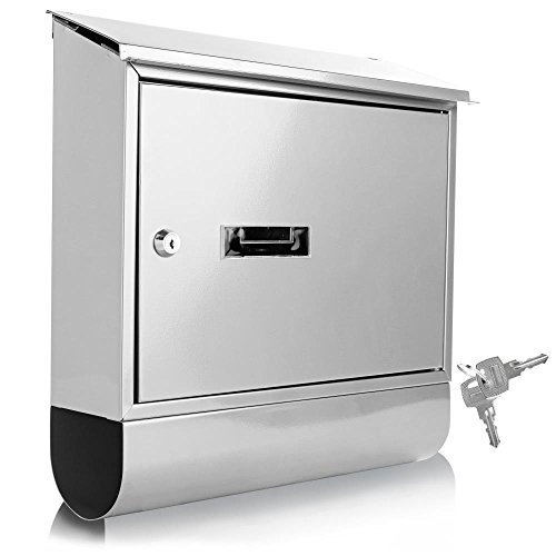 Serene Life Modern Wall Mount Lockable Mailbox Outdoor Galvanized Metal Key Large Capacity...