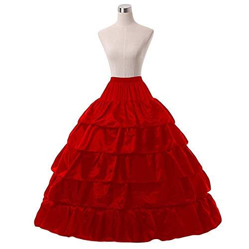 Huaheng Elegante Bruidsjurk Avondjurk 5 Slip Ruches 4 Hoepels Petticoat Onderrok Wit/Zwart/Rood Rood