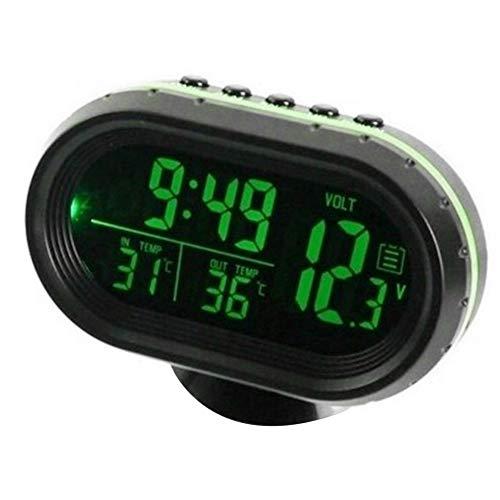 KKmoon DC 12V 3-in-1 Auto Digital Voltmeter Zeitschaltuhr Thermometer Wasserdichter LED Display Messgerät für Auto Motorrad Boot Grün
