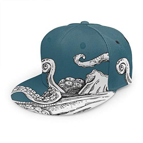Gorra de béisbol Vintage Sea Monster Cool Octopus Tentáculos Unisex Impresión 3D Snapback Gorras Gorra ajustable Sombrero Trucker Sombreros Negro