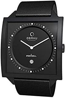 Obaku Men's V116UBBRB Black Calf Skin Quartz Watch with Black Dial