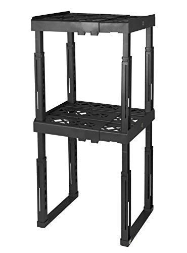 """Tools for School Locker Shelf with Adjustable Width 8"""" - 12 1/2"""" and Height 9 3/4"""" - 14"""". Stackable and Heavy Duty. Ideal for School, Work and Gym Lockers. Double (Black)"""