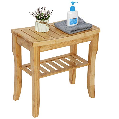 ZENY Bamboo Shower Bench Seat with Storage Shelf, Spa Bath Organizer Stool Shower Chair for Indoor or Outdoor