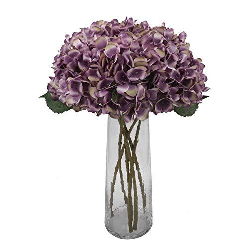 Decpro 6 Piezas de hortensias Artificiales, 6,6'' de Flores de Seda de hortensias de un Solo Tallo para Ramos de Novia, decoración de Fiesta de Hotel de Oficina en casa, centros de Mesa(Púrpura)