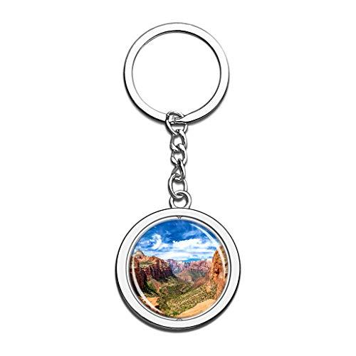 Zion National Park Utah Amerikas USA Schlüsselbund Kristall Spin Rostfreier Stahl Schlüsselring Reisen Stadt Andenken