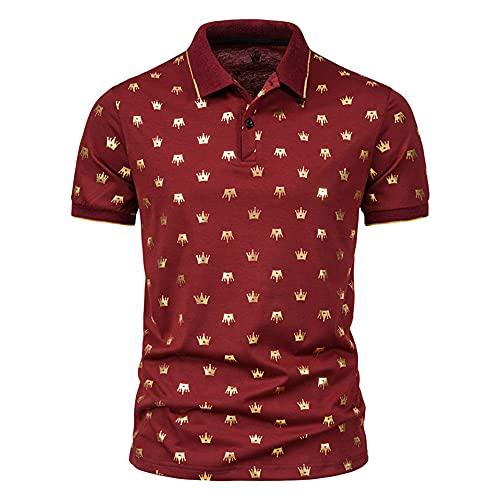 T-Shirt Hombre Estiramiento Estampado Moda Verano Hombre Shirt Ocio Tapeta con Botones Transpirable Hombre...