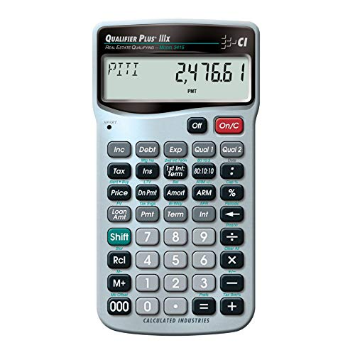 Calculated Industries 3415 Qualifier Plus IIIx Advanced Real Estate Mortgage Finance Calculator | Simple Operation | Buyer Pre-Qualifying | Solves Payments, Amortization, ARMs, Combos, FHA, VA, More