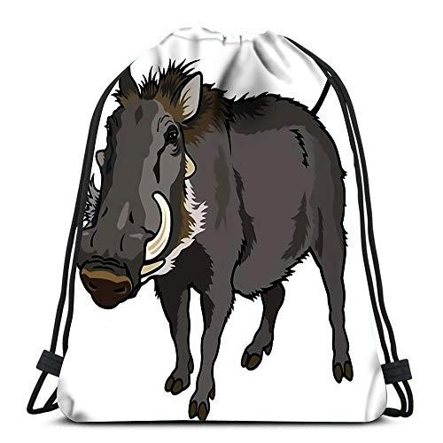 JDHFJ Bolsa con cordón Drawstring Backpack Bags Sports Cinch Warthog Phocochoerus Africanus Wild Animal of Africa Picture for School Gym