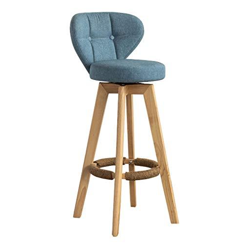 Arredamento Sgabello Sgabelli da bar con altezza contraria, Sedia imbottita moderna rivestita in tessuto con schienale basso e gambe in legno per sala da pranzo, cucina, bancone bar - Seduta blu