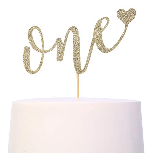 Cake Topper For 1st Birthday - Smash Cake Topper, Birthday Cake For Photo Booth Props, Glitter Cake Decorating Supplies, First Anniversary,ONE' Birthday Cake Bunting Flag (1st Birthday Cake Topper)