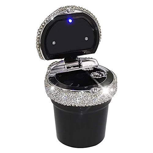 Cenicero para Coche Auto-extinguible cenicero portátil Coche con LED indicador de luz Negro, Cenicero para Coche portátil de Auto-extinguible Cenicero para Coche con LED indicador de luz