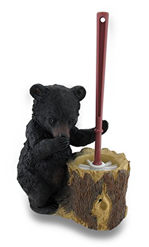 Zeckos Black Bear Butler Toilet Brush and Holder 2 Piece Set