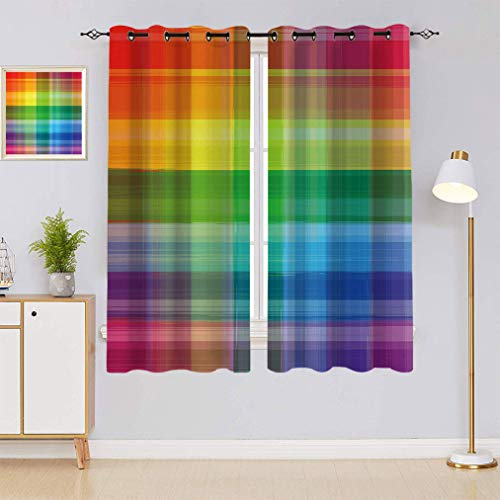 "Amazing Rainbow Bedroom Curtains, Retro Plaid Design Checkered Squares Colored Geometric Pattern Living Room Window Curtains, 63"" W x 63"" L Multi"