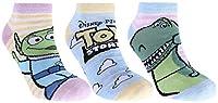"""Set di tre paia di calze corte per bambini, tipo calze invisibili. Calze nei colori giallo-rosa-blu, con il motivo dei personaggi del film di animazione """"Toy Story"""", prodotto dallo studio Walt Disney. Realizzate in tessuto morbido, elastico e piacevo..."""